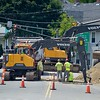 BEN GARVER — THE BERKSHIRE EAGLE<br />  Traffic at the intersection of West Housatonic, Center and Elizabeth Streets  street wili be modified during the reconstruction of the intersection, changing as the project moves foreward. Baltazar Construction of Ludlow is the contractor.