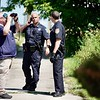 BEN GARVER — THE BERKSHIRE EAGLE<br /> Pittsfield Police and the Berkshire County Sheriff's Office look for Harry Chandler, 33, of Pittsfield after the inmate escaped from Berkshire Medical Center, Monday, July 8, 2019. THe search centered around Tyler, North, and First Streets.