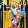 BEN GARVER — THE BERKSHIRE EAGLE<br /> Na'main Fountain, 7, gets a strong start to his summer parks program on the playground at Durant Park, Monday, July 8, 2019. <br /> Summer Parks Playground Program will be held at The Common, Durant Park, and Springside Park at Springside Avenue for six weeks through Aug. 16.