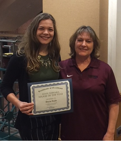 Chadron State College student Dacia Stuhr of Bradshaw, Neb., and Dr. Donna Ritzen, associate professor in Health, Physical Education and Recreation, pose at the 2017 SHAPE NE State Conference hosted in Lincoln, Neb., Nov. 6-7. Stuhr was selected by CSC HPER faculty members to receive the Exercise Science Major of the Year award. (Courtesy Photo)
