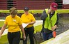 Local surveyor Phil Curd measures the taco line at 938 feet while CSC Dining Services staff assist Friday, April 21, 2017, in the Chicoine Center during Spring Daze. (Photo by Tena L. Cook/Chadron State College)