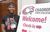 Cortez Ladd of Chicago, Ill., poses in the Chadron State College Student Center Thursday, Aug. 17, 2017, during New Student Orientation. (Tena L. Cook/Chadron State College)
