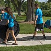 From left, Eagle Leaders Rachel Downing of Hampton, Neb., Jalee Johnson of Custer, S.D. and Lukas Klueber of Rapid City, S.D. assist residents moving into Brooks Hall Thursday, Aug. 17, 2017 (Tena L. Cook/Chadron State College)