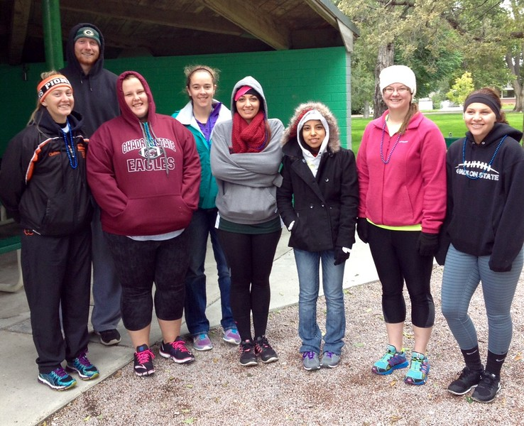 Students from Dr. Shaunda French's civic engagement course, CA 239, Event Planning and Leadership, who participated in the Out of Darkness Suicide Awareness 5k Walk Saturday. From left, Chelsea Lukasiewicz, Brandon Pippenger, Shae Lindsey, Robin Moore, Chancy Miller and Taylor Merchent. (Courtesy photo)