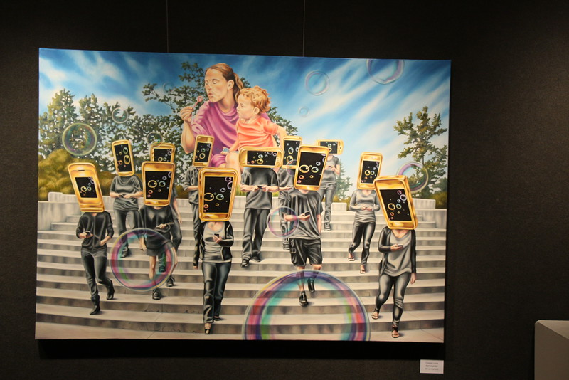 """""""Communion"""" by Charles Luna is a painting featured in the first Chadron State College 2015-16 Gallery Series art exhibit, """"Data Driven Publicity."""" The free show is open to the public in Memorial Hall's Main Gallery, Mon.-Fri. 9 a.m.-4:30. p.m. (Alex Coon/CSC)"""