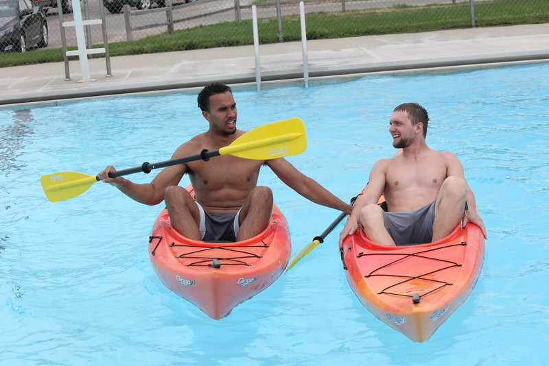 Students enrolled in a Health Physical Education and Recreation class taught by Donna Ritzen learn how to kayak in the Chadron City swimming pool Thursday. (Courtesy photo)