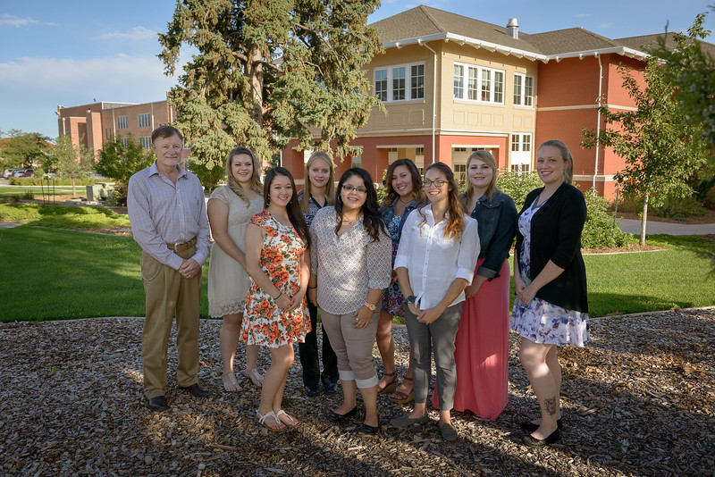 """The Chadron State College Social Work 435 class is hosting their annual conference Oct. 14. The 2016 theme addresses the issue of sexual assault and is entitled, """"Not Asking For It."""" Back row, from left, Bruce Hoem, Brandy Bowers, Shelby McKay, Cierra Herrmann, Ashly Lunbery and Chelsea Rugg. Front row, from left, Cynthia Lee, Yadira Gurrola and Jennifer Kallunki. (Photo by Daniel Binkard/Chadron State College)"""