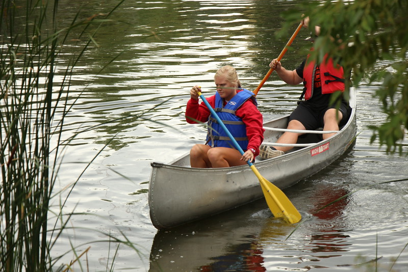 Students enrolled in a Health Physical Education and Recreation class taught by Donna Ritzen learn how to canoe in Briggs Pond Monday. (Courtesy photo)