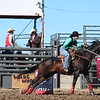 Shelby Winchell of Scottsbluff, Nebraska, runs the barrels during the Chadron State College rodeo Sept. 18. (Tena L. Cook/Chadron State College)
