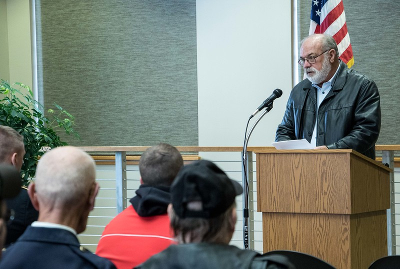 Stacy Swinney, president of the Dawes County Veterans of Foreign Wars (VFW) Gray Eagle Post 1375, spoke at the Chadron State College Veterans Day program Wednesday, Nov. 11, 2015. (Tena L. Cook/Chadron State College)