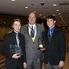Chadron State College students Drew Kasch, left, of Highlands Ranch, Colo., and Troy Fields, right, of Halsey, Neb., pose with CSC President Dr. Randy Rhine. Kasch and Fields placed in the 2015 Phi Beta Lambda national conference and competition in Chicago June 24-27. (Courtesy photo)