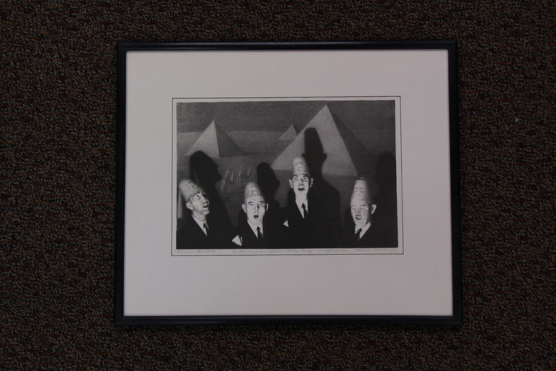 "Chadron State College graduates Gerald and Mary V. Carlson of Lincoln donated this 1940 Grant Wood lithography print, ""Shrine Quartet,"" to CSC in September 2015. Mary's grandparents, Sterling and Jesse (Clark) Mutz, were friends with Wood and he stayed in their home when visiting Lincoln for cultural gatherings. The lithograph was given to them as a token of gratitude for their hospitality."
