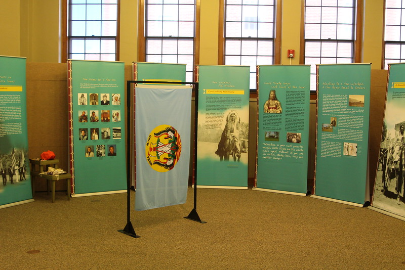 """""""Parading Through History: The Apsaalooke Nation"""" exhibit in the Sandoz Center takes visitors on a chronological journey through the history and culture of the Crow tribe. (Alex Coon/ Chadron State College)"""