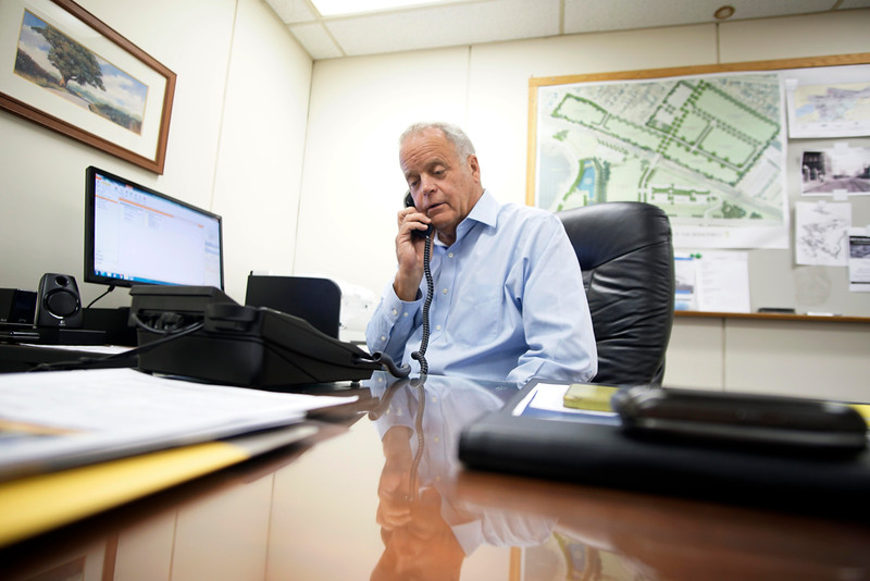 Corydon L Thurston, Executive Director of the Pittsfield Economic Development Authority works in his office on the  PEDA property, Wednesday, August 17, 2016. Ben Garver — The Berkshire Eagle | photos.berkshireeagle.com