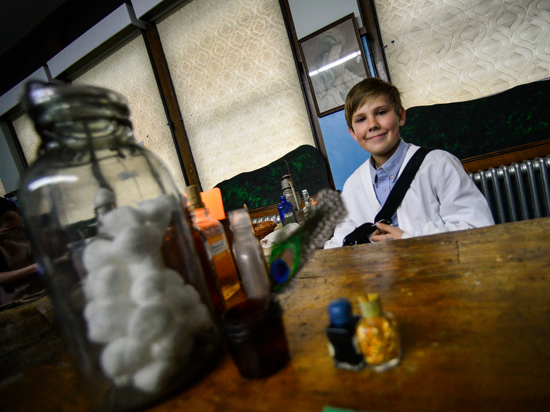 "KRISTOPHER RADDER — BRATTLEBORO REFORMER<br /> Michael Korpiewski, 10, playing a doctor from ""Little House on the Prairie"" during the annual Night at the Museum  at  St. Michael's Roman Catholic Church on Thursday, April 11, 2019."
