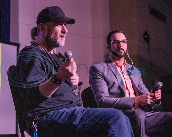 "Dustin Diamond, known for his iconic role as Screech on ""Saved By the Bell,"" (left) answers attendees questions on stage during Night of Nostalgia Saturday, March 7, 2020, at Harvey Hall Convention Center in Tyler."