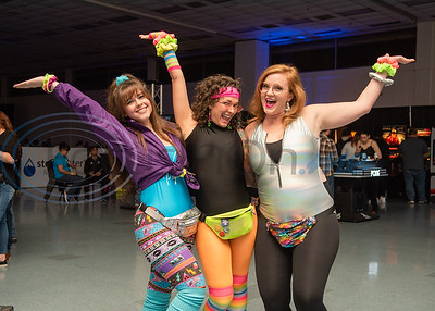 Friends Kayla Calcote, (left) Jessica Goodwin and Shawna Yockey don head-to-toe '80s aerobic attire during Night of Nostalgia Saturday, March 7, 2020, at Harvey Hall Convention Center in Tyler.