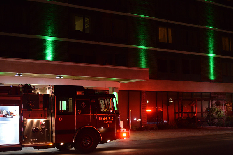 ADAM SHANKS — THE BERKSHIRE EAGLE<br /> North Adams firefighters quickly knocked down a fire in the basement of the Holiday Inn on Main Street early Tuesday morning.