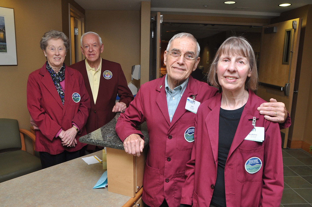 . Volunteer couples at North Adams Regional Hospital are from left, Ramona and Carolyn Marcil, and Don and Ramona LaValley. File photo by Gillian Jones