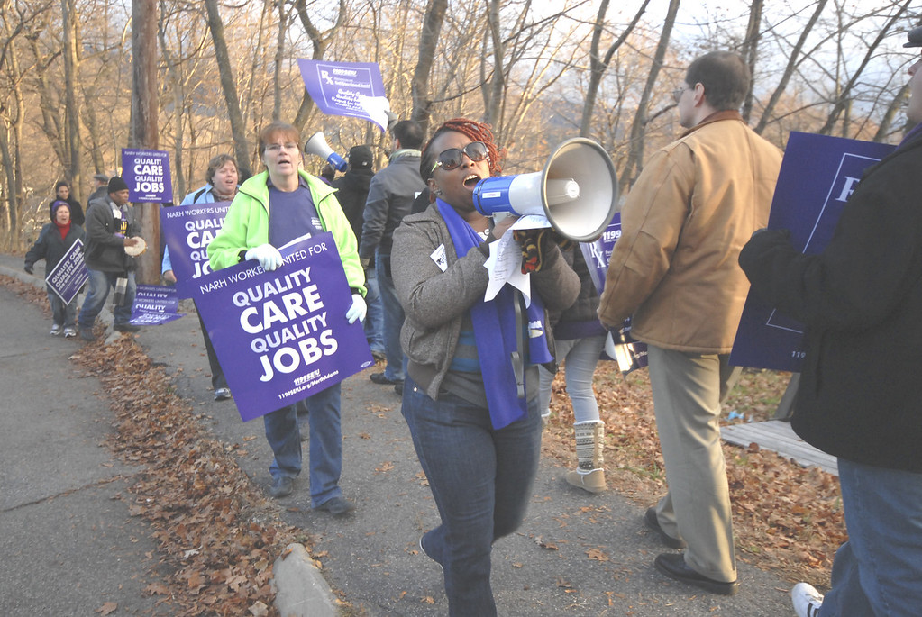 . Gillian Jones/North Adams Transcript file Workers at NARH and members of Union 1199 of the United Healthcare workers held a rally on Tuesday afternoon on Hospital Avenue in front of North Adams Regional Hospital.