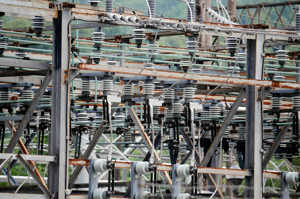 . Power routhed to North Berkshire passes through thte Adams substation on Zylonite Street.  Tuesday July8, 2014.  Ben Garver / Berkshire Eagle Staff / photos.berkshireeagle.com