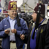"""Phil Thomas and Mark Feder, members of the Shriners group celebrate as they hold the check that will be given to the Shriners hospital in Springfield. The check for $500,00 was given to the shriners by Mike Roberts. Roberts has been raising the money since 1982 by fundraisers and the annual """"Fall Run""""  November 7th 2013 Holly Pelczynski/Berkshire Eagle Staff"""