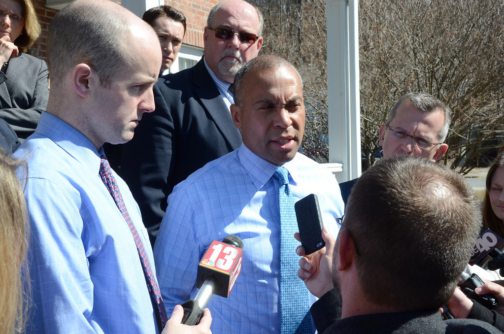 . Governor Deval Patrick speaks to the media during a break from talks with area legislators in the Office of the President at the Massachusetts College of Liberal Arts on Tuesday, April, 1, 2014.  Gillian Jones / Berkshire Eagle Staff / photos.berkshireeagle.com