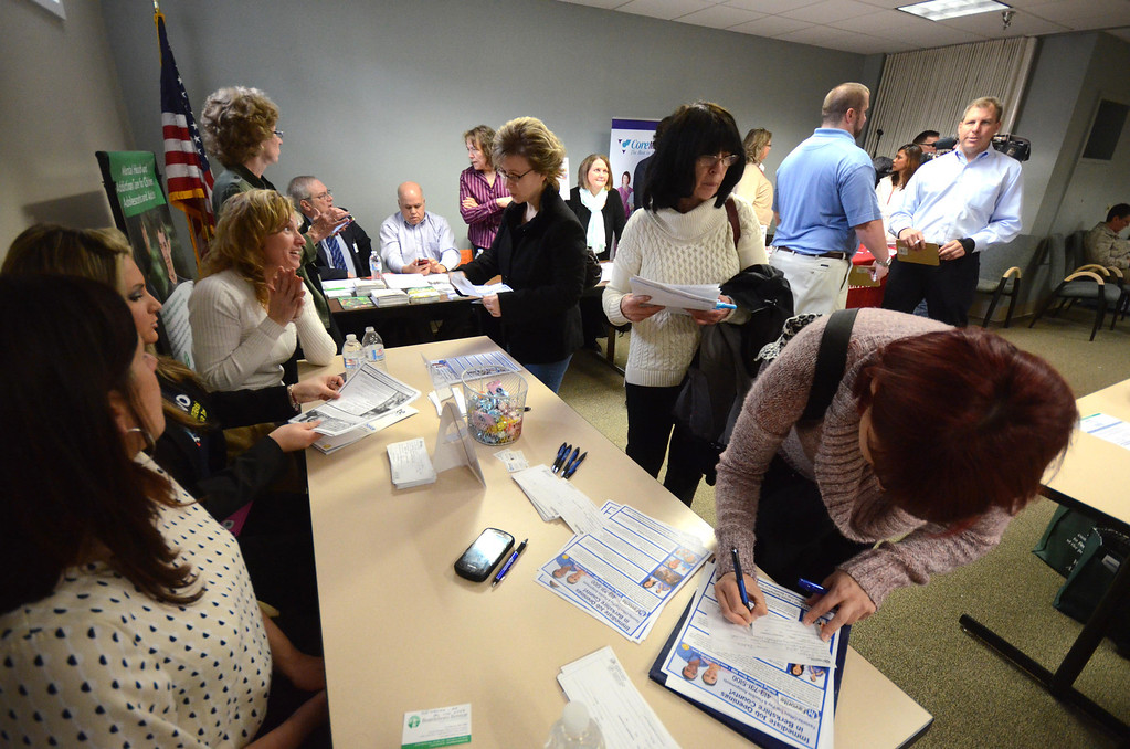 . Over a dozen vendors and other organizations participated in job fair, for health care workers, in The Clark House on the campus of North Adams Regional Hospital on Wednesday, April, 2, 2014. Gillian Jones / Berkshire Eagle Staff / photos.berkshireeagle.com