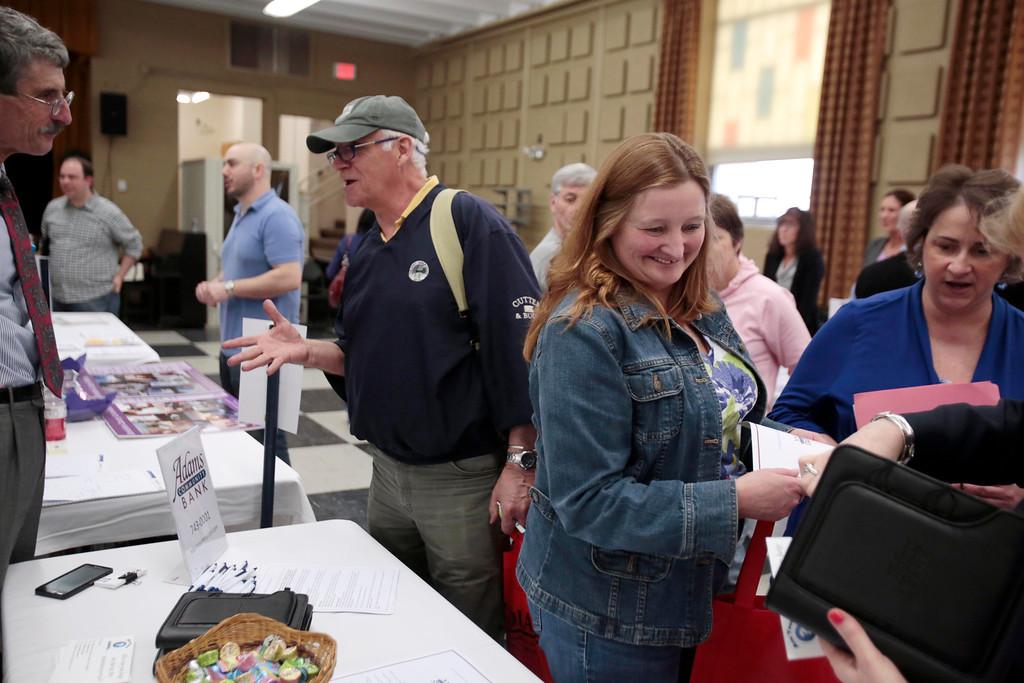 . A North Adams Regional Hospital (NARH) community resource fair for the former NARH employees is held in the Church Street Center social hall on the MCLA campus. Friday, April 11, 2014. Stephanie Zollshan / Berkshire Eagle Staff / photos.berkshireeagle.com