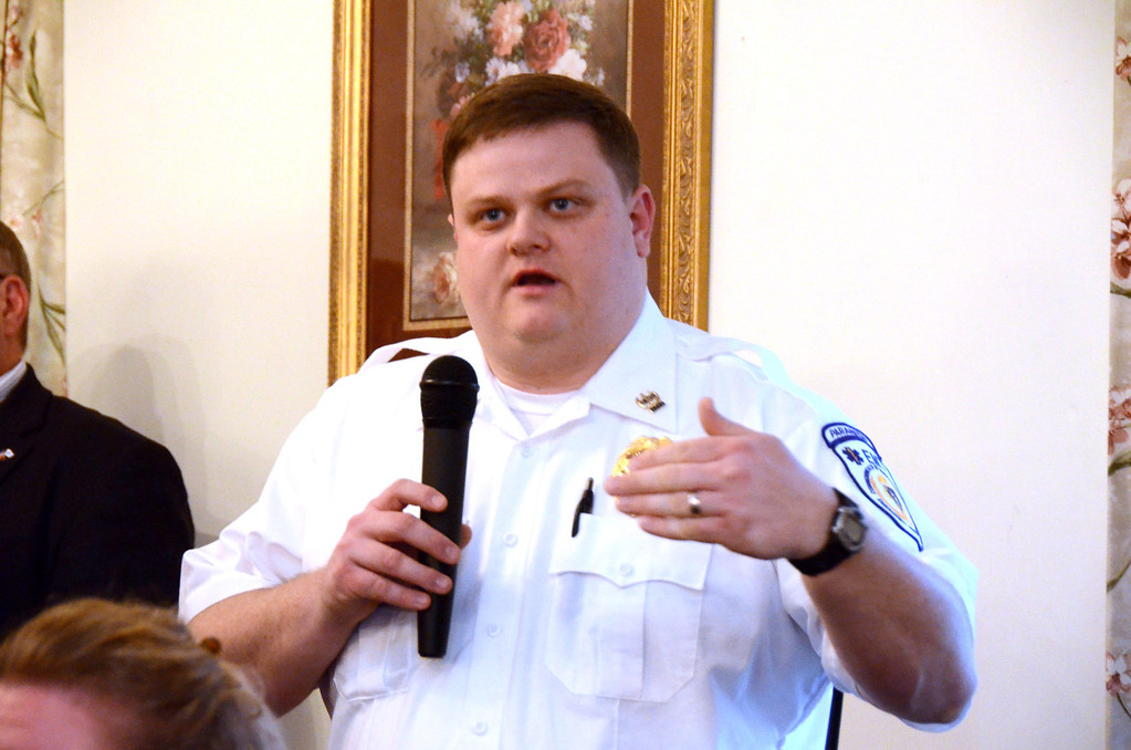 . John Meaney of North Adams Ambulance Service speaks about the impact of the hospital\'s closure on their services at American Legion Post 125 in North Adams for the weekly meeting with updates on the closing of NARH on Tuesday, April, 8, 2014. Gillian Jones / Berkshire Eagle Staff / photos.berkshireeagle.com