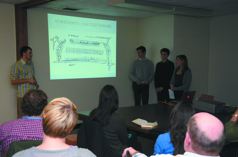 Williams College students in an environmental planning class gave a presentation to about 20 people including the mayor and city planner about their study on parking in North Adams. From left are students Ben Corwin, Paul De Konkoly Thege, Daniel Zilkha and Jessica Luning. (Gillian Jones/North Adams Transcript)