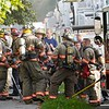 BEN GARVER — THE BERKSHIRE EAGLE<br /> Pittsfield firefighters worked to put down a house fire at 823 North Street. North street traffic was blocked while the firefighters worked.