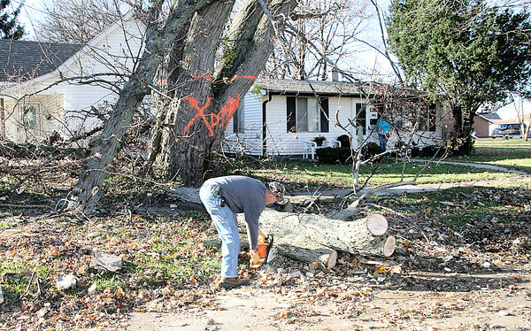 Reporter photo by Rod Rose<br /> Billy Taylor, Lebanon Street Department assistant superintendent, begins removing a tree that was blocking South East Street. Street and utility department crews were helping to clear debris and ensure power lines were not at risk of being downed by limbs as Lebanon began recovering Monday from an EF-2 tornado that hit the city Sunday afternoon.