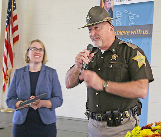 Arc Board President Kayla Britton and Boone County Sheriff Mike Nielsen, who was named Community Partner of the Year.