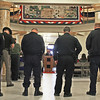 COUNTY HONORS VETERANS<br /> Elizabeth Pearl | The Lebanon Reporter<br /> CEREMONY: Local law enforcement officers bow their heads as Pastor Jason Grubbs delivers an opening prayer at the Veterans Day Service at the Boone County Courthouse on Thursday morning. The ceremony included the presentation of colors by the Pixie Playhouse Day Care Center children and an address from keynote speaker Mike Spidel. Spidel, the Boone County Veteran Service Officer, spoke about his experience going on an Honor Flight trip and encouraged other veterans to seize the opportunity to do the same.