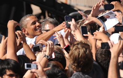 President Barack Obama meets with the crowd, Tuesday Sept. 27, 2011, after speaking, at Lincoln High School, about his American Jobs Act Bill. RJ Sangosti, The Denver Post