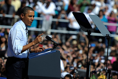 President Barack Obama speaks while pitching the American Jobs Act at Denver's Abraham Lincoln High School on Tuesday, Sept. 27, 2011. (Daniel Petty, The Denver Post)