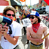 "Lee Buchsbaum, left and Josh Maynard share a megaphone during  the Occupy Boulder American Spring Rally in downtown Boulder on Saturday March 31, 2012.<br /> For more photos and a video of the march and rally go to  <a href=""http://www.dailycamera.com"">http://www.dailycamera.com</a><br /> Photo by Paul Aiken"