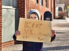 HOLLY PELCZYNSKI - BENNINGTON BANNER<br />  Brendan Pringle, 8, a student of Bennington Elementary School, holds a sign at the Four Corners in Bennington to show his support for Jerry O'Connor on Monday, April 2, 2018.