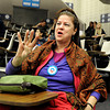 "Boulder resident Jan McNeil chants ""four more years"" on Wednesday, March 21, during a Greater Together Student Summit at the Duane Physics building on the University of Colorado campus in Boulder. The event is part of the Obama re-election campaign. For more photos and video of the event go to  <a href=""http://www.dailycamera.com"">http://www.dailycamera.com</a><br /> Jeremy Papasso/ Camera"