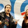 University of Colorado senior Daniel, last name not given, left, and senior Audrey Campbell chant slogans from the Occupy CU movement on Wednesday, March 21, during a Greater Together Student Summit at the Duane Physics building on the University of Colorado campus in Boulder.<br /> Jeremy Papasso/ Camera