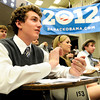 "Boulder resident Neal Kornreich, left, University of Colorado sophomore Olivia O'neil, center, and junior Tyler Quick applaud a speaker on Wednesday, March 21, during a Greater Together Student Summit at the Duane Physics building on the University of Colorado campus in Boulder. For more photos and video of the event go to  <a href=""http://www.dailycamera.com"">http://www.dailycamera.com</a><br /> Jeremy Papasso/ Camera"