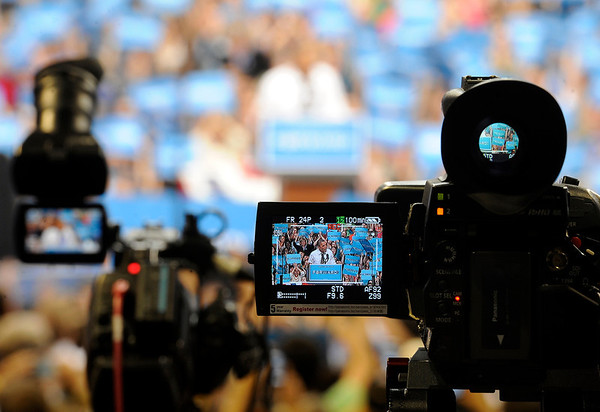 """President Barack Obama is seen through the viewfinder of a video camera as he speaks to the crowd on Thursday, Nov. 1, during a campaign visit at the Coors Event Center on the University of Colorado campus in Boulder. For more photos and video of the event go to  <a href=""""http://www.dailycamera.com"""">http://www.dailycamera.com</a>"""