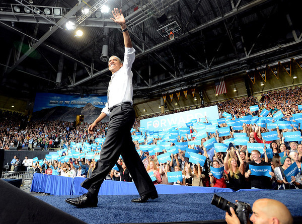 "Barack Obama waves to the crowd before his speech on Thursday.<br /> President Barack Obama speaks to a crowd in the Coors Events Center on the University of Colorado campus on November 1, 2012.<br /> For more photos of Obama, go to  <a href=""http://www.dailycamera.com"">http://www.dailycamera.com</a>.<br /> Cliff Grassmick / November 1, 2012"
