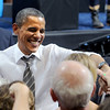 "Barack Obama greets the crowd after his speech Thursday night.<br /> President Barack Obama speaks to a crowd in the Coors Events Center on the University of Colorado campus on November 1, 2012.<br /> For more photos of Obama, go to  <a href=""http://www.dailycamera.com"">http://www.dailycamera.com</a>.<br /> Cliff Grassmick / November 1, 2012"