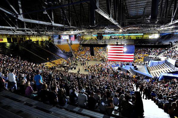 "The crowd sits inside the Coors Event Center on the University of Colorado campus waiting for President Obama's speech on Thursday, Nov. 1. For more photos and video of the speech go to  <a href=""http://www.dailycamera.com"">http://www.dailycamera.com</a><br /> Jeremy Papasso/ Camera"