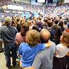 "Kyan Restaino and his father, Ray  show their support of the President.<br /> President Barack Obama speaks to a crowd in the Coors Events Center on the University of Colorado campus on November 1, 2012.<br /> For more photos of Obama, go to  <a href=""http://www.dailycamera.com"">http://www.dailycamera.com</a>.<br /> Cliff Grassmick / November 1, 2012"
