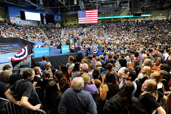 "Crowds wait near the stage inside the Coors Event Center on the University of Colorado campus for President Obama's speech on Thursday, Nov. 1. For more photos and video of the speech go to  <a href=""http://www.dailycamera.com"">http://www.dailycamera.com</a><br /> Jeremy Papasso/ Camera"