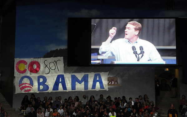 "Colorado Senator, Michael Bennet, speaks to the CU crowd.<br /> President Barack Obama speaks to a crowd in the Coors Events Center on the University of Colorado campus on November 1, 2012.<br /> For more photos of Obama, go to  <a href=""http://www.dailycamera.com"">http://www.dailycamera.com</a>.<br /> Cliff Grassmick / November 1, 2012"