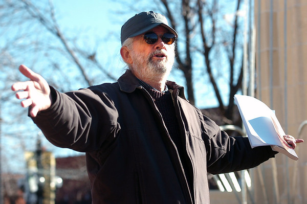 """Michael Brownlee, of Boulder, has a discussion with the crowd during an Occupy Boulder rally on Saturday, Nov. 26, in front of the Boulder County Courthouse on the Pearl Street Mall in Boulder. For more photos and video of the rally go to  <a href=""""http://www.dailycamera.com"""">http://www.dailycamera.com</a><br /> Jeremy Papasso/ Camera"""